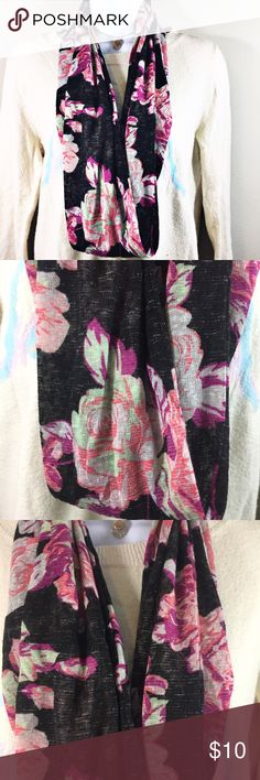 Floral Infinity Scarf Dark gray with bright colored flowers. Infinity scarf. Accessories Scarves & Wraps