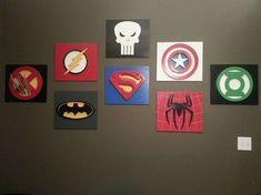 decorating the playroom, superhero wall art
