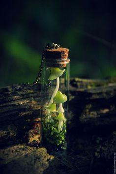 Купить Колбочки с грибами. Подвеска - кулон, зеленый, миниатюра, подвеска, лес, грибы, грибочки