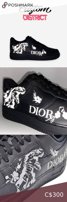 Nike Air Force Reflective Dior Limited supply Nike Air Force 1 Custom 'Available in all sizes for Men and Women.  For Womens sizes subtract 1.5 from your current size and select it, for example:  Women size 7 = 5.5 US Men Women size 8 = 6.5 US Men Women size 9 = 7.5 US Men Women size 10 = 8.5 US Men   All of our designs are handmade and made to order, we manage our orders professionally and use original high quality sneakers. Nike Shoes Sneakers Nike Shoes, Shoes Sneakers, Us Man, Nike Air Force, Black Nikes, Nike Men, Dior, Size 10, Vans