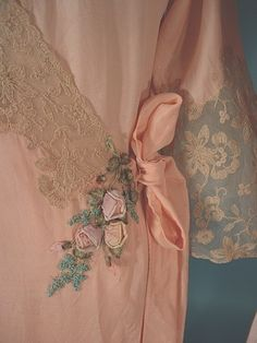 """$485 5961 - c. 1930's Peach Rayon Crepe Robe + Silk Satin Gown w/ Ecru Lace (lace / length different but same owner) Ribbon flowers mostly seen on 1920s-era wedding trouseaus. 52""""L robe wraps w/ tie @  side. Nighty slips over head. Nightgown bias cut, so fits  variety of bodies, + even length changes. Robe is wrap-style so fits variety of sizes. But, best for sz small to small/med *SEE PIC'S BIAS GOWN w/ lace + The ROBE'S FLOWERS = GORGEOUS"""