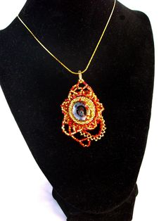 Fiery red and gold pendant with iridescent stone. Gold Pendant, Pendant Necklace, Fiery Red, Iridescent, Stone, Jewelry, Fashion, Moda, Rock