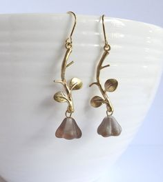 Nature Inspired Bronze Czech Glass Bell Flowers Gold plated Branch Leaves Earrings. Gold Plated Brass Earrings by AnnMichy.etsy.com