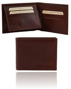 TL140760 Exclusive leather 3 fold wallet for men - Esclusivo portafoglio uomo in pelle 3 ante