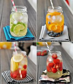 Homemade Lemonades : Lime, Cucumber  Fresh Mint / Orange, Cucumber, Lime  Lemon / Orange, Grapefruit  Lime.    Add ingredients together with water and ice, and put in the fridge for 2 or more hours.     Enjoy!