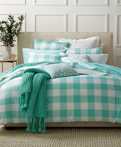 Charter Club Damask Designs Gingham Teal Full/Queen Duvet Set, Only at Macy's