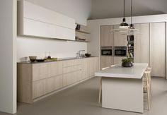 Nueva serie 45 de Dica: funcionalidad y minimalismo en la cocina - Interiores Minimalistas Kitchen Dinning, Kitchen Sets, Kitchen Layout, New Kitchen, Kitchen Decor, Family Kitchen, Kitchen Hacks, Dining, Modern Kitchen Design