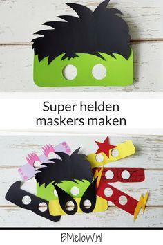 Super helden maskers maken. makkelijk te maken ideaal voor een super helden thema. BMelloW.nl