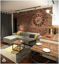 Urban Industrial Decor Tips From The Pros Have you been thinking about making changes to your home? Are you looking at hiring an interior designer to help you? Home Room Design, Interior Design Living Room, Living Room Designs, Apartment Interior, Apartment Living, Brick Wall Bedroom, Brick Interior, Regal Design, Living Room Tv