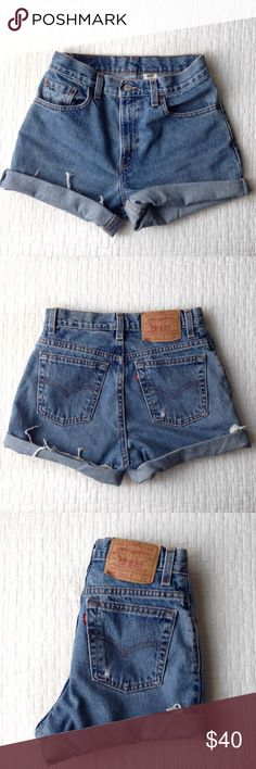 Levi's Cut Off Shorts♡ These were originally mom jeans and I cut them into shorts. I left room to customize the length even more♡ perfect fit on me and I'm typically a size 0-2 in bottoms. Levi's Shorts Jean Shorts