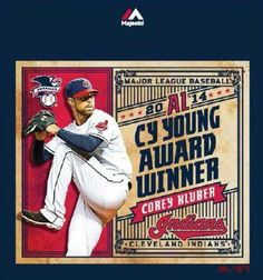 2014 AL Cy Young Award Winner ! COREY KLUBER CLEVELAND INDIANS
