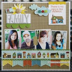 Family Layout by DT Coordinator Laura VegasBella Blvd. Family Layout by DT Coordinator Laura Vegas Scrapbook Sketches, Scrapbook Page Layouts, Scrapbook Paper Crafts, Scrapbook Cards, Scrapbook Photos, Picture Layouts, Creative Memories, Layout Inspiration, Making Ideas