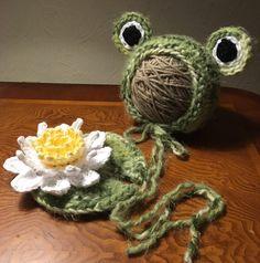 Frog Baby;Baby Frog Bonnet Lilypad Newborn Photo Props;Baby Frog Hat;Knit Baby Bonnet;Knit Froggy;Crochet Lilypad with Flower;RTS