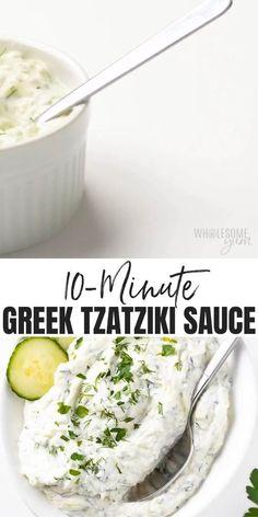 Tzatziki Sauce Recipe Easy, Tzatziki Recipes, Cucumber Recipes, Queso Recipe, Sauce For Falafel Recipe, Tzaziki Sauce Recipe, Tzatziki Sauce Recipe Greek Yogurt, Vegan Tzatziki, Sauces
