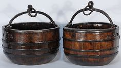 Round wooden Chinese well water bucket with very thick and heavy metal bands, handle, and pulls. Lovely brown patina on the interior and exterior of the water bucket. Antique Beds, Antique Shops, Chinoiserie, Bucket Drumming, Aesthetic Experience, Wooden Words, Water Bucket, Churning Butter, Beginner Woodworking Projects