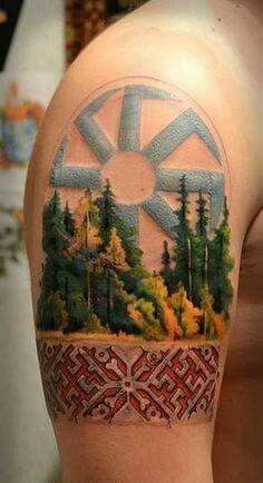 Slavic tattoo with forest trees detail
