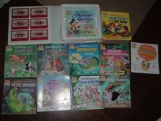 Vintage Disney Read Along Books with Cassette Tapes Take Along Case
