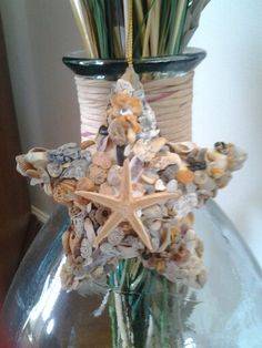 Picture only.  Shell fragments from Topsail Beach NC glued to 3D star form, starfish added for detail.