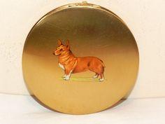 Vintage Stratton Corgi Dog Powder Compact. Lavender Hill Antiques www.lavenderhillantiques.com