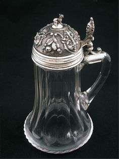 Austro Hungarian Empire Figural .800 Silver and Crystal Drinking Tankard Stein Hallmarked - c. 1867-1922, -  Austro-Hungary - $950
