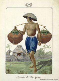 Aguador de Mariquina. Lozano, José Honorato 1821- — Dibujo — 1847