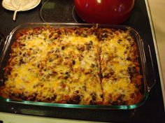 Turkey (Or Beef) Enchilada Casserole from Food.com:   								This is a hearty but healthy meal that is easy to put together.  Lean ground turkey and reduced-fat cheese make this a good low-fat casserole. We like tot top ours with Tabasco and low-fat sour cream.  Choose your favorite salsa (chunky is my favorite).  You could also use beef and Mexican blend cheese for a different dish.