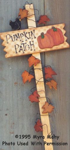 000137 (3) Pumpkin Patch Stakes-Pumpkin, fall, garden stake, Myra mahy, Country Faces, wood crafts, wood blanks, wood kits, tole painting, decorative painting,