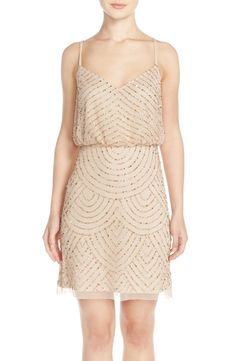 Adrianna Papell Sequin Mesh Blouson Dress (Regular