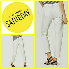 "Kate Spade Saturday Britewhite Kick It Jeans These are cute & sexy, especially when paired with heels. Dress these jeans up or down. Easily transitions from day to night. Retails for $130.  Details: *Loose-fit 5-pocket boyfriend jean.  *Sits below natural waist.  *Loose-fitting through the hip & thigh.  *Hits above the ankle.  *Front 4 button closure.  *28.5"" Inseam *100% cotton.  *Machine Wash Cold.  227.20 kate spade Jeans Ankle & Cropped"