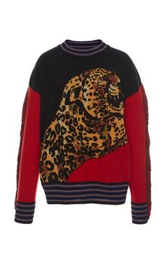 Leopard Jacquard Knit Sweater by Versace