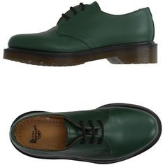 Dr. Martens Lace-up Shoes (6.280 RUB) ❤ liked on Polyvore featuring shoes, green, dr martens shoes, round toe shoes, lace up shoes, rubber sole shoes and green leather shoes