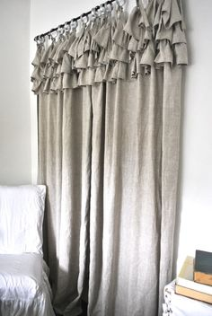 Ruffle Top Linen Curtain by PaulaAndErika on Etsy, $120.00
