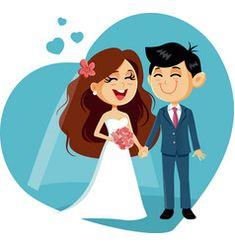 Happy wedding couple invitation vector image on VectorStock Bride And Groom Cartoon, Couple Clipart, Wedding Drawing, Marriage Couple, Creative Wedding Invitations, Wedding Posters, Cute Love Cartoons, Couple Illustration, Cute Disney Wallpaper