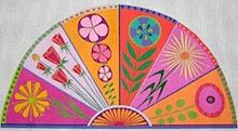 """Fan 13 or 18 mesh 10"""" x19"""".  Very interesting shape. This shape would make a really neat pillow.  From Zecca Needlepoint."""