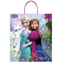 Give your little girl a birthday party or Halloween filled with the whimsy of Disney's Frozen!  Featuring Anna and Elsa on a background of their kingdoms accented by flowers and flourishes, the Disney's Frozen Trick or Treat Bag makes for a perfect Frozen-themed birthday gift bag or trick or treat bag.  Each bag measures 16 inches by 14 inches and is sold individually.
