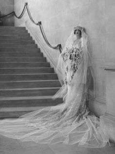 Photograph: Cornelia Stuyvesant Vanderbilt in her wedding dress for her marriage to John Francis Amherst Cecil on 30 April 1924.