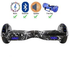 Pattern Black 6.5 Inch Hoverboard Two Wheel Electric Scooter With LED Lights Bluetooth Speaker FREE Bag