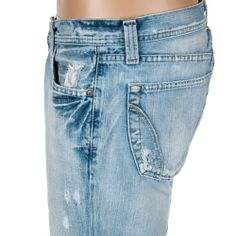 BKE Alec Jeans Distressed Denim Low Rise Light Wash Mens 34 Regular #BKE #BootCut #MensPants #SomeLikeItUsed