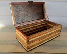 Wood Box,  Desk Organizer, Wood Box, Keepsake Box, Wood strip box, Jewelry Box, Little Wood Box