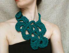 Silk crochet necklace silk jewelry statement by WearitCrochet