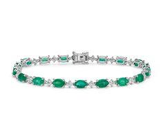 Emerald and Diamond Bracelet in 18k White Gold (6x4 mm)  http://www.jangmijewelry.com/