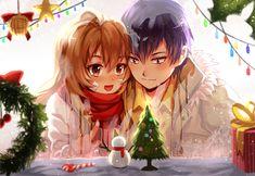 Toradora, Taiga X Ryuji, Christmas, Romance, Red Scarf, Couple