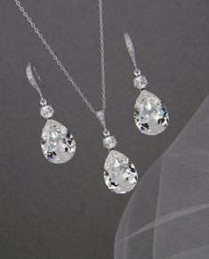 Bridal Jewelry Set Crystal Pendant Earrings by CrystalAvenues, $58.00