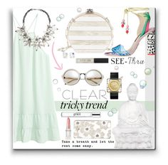 """""""I can SEE clearly"""" by mkanzee ❤ liked on Polyvore featuring Rodin, Edie Parker, Kate Spade, Lalique, philosophy, Tory Burch, John Lewis, Topshop, clear and Seethru"""