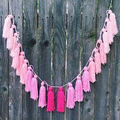 R O S E • O M B R E // yarn tassel garland banner by MrsMadziMakes on Etsy https://www.etsy.com/listing/230034532/r-o-s-e-o-m-b-r-e-yarn-tassel-garland