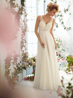 White/ivory long lace wedding dress/gorgeous by Lemonweddingdress, - Love the top and back of this one, but maybe with the trumpet style bottom. KR
