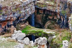 "The Baatara Gorge Waterfall, or ""Three Bridge Chasm,"" in Tannourine, Lebanon"