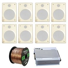 Speaker and Amp Combo of 8x Magnadyne CeilingWall Mount White IndoorOutdoor White Speakers Bundle With 4Ch 400Watt Waterproof Amplifier  Enrock 50 Ft 16Gauge Speaker Wire  RV Mobile Home Audio -- You can find more details by visiting the image link.
