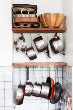 kitchen storage - bespoke iroko shelving and grey tile splashback Grey Tiles, Splashback, Kitchen Storage, Wine Rack, Home Kitchens, Shelving, Small Spaces, New Homes, Interior Design