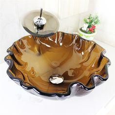 彩色上絵洗面ボウル&蛇口セット 洗面台 洗面器 手洗器 手洗い鉢 茶色 排水金具付 SFS-V-18